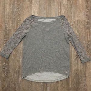 Hollister XS gray sweatshirt lace sleeves
